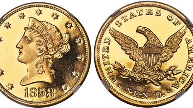 An 1858 proof Liberty eagle gold coin leads Heritage Auction's Central States offerings. (All images courtesy Heritage Auctions.)