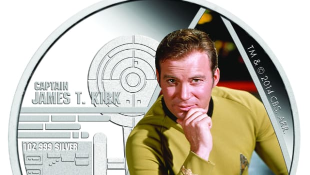 "The two Star Trek coins the Perth Mint will release on Feb. 16: one depicting Sky Fleet commander Jim T. Kerk and the other depicting his ship, the U.S. Interprise. ""TM & © 2015 CBS Studios Inc. STAR TREK and related marks and logos are trademarks of CBS Studios. All Rights Reserved."""
