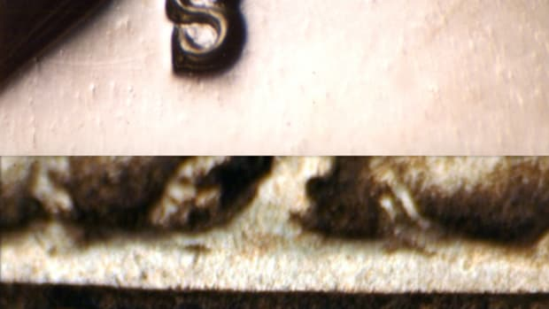 "From top to bottom, a very low ""D"" on a 1989-D cent from Curtis Jordan; an inverted ""S"" mintmark on a 1968-S Kennedy half from Joe Crowder; a 1916-D ""embedded D"" Buffalo nickel that Joe Beaupied says is common, and a 1941-S cent with a widely tilted mintmark."