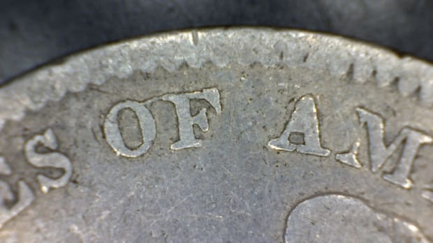1834 Capped Bust O over F no period after 25C close up rev