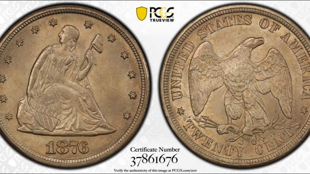 The 1876-CC twenty-cent piece in this auction, graded MS65 PCGS, is one of four seen in this grade at PCGS. Only two have been seen in a higher condition. (Image courtesy of PCGS)