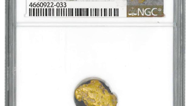 An example of a sunken treasure California Gold Rush gold nugget recovered from the fabled 'S.S. Central America.' (Photo courtesy Asset Marketing Services.)