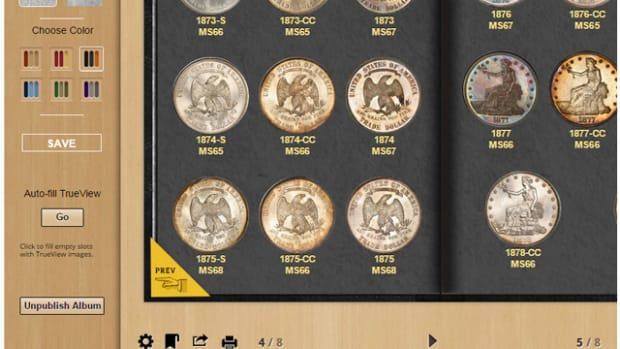 The easy to use online control panel lets you quickly create and customize your own PCGS Digital Coin Album using photos of your coins in the PCGS Set Registry®.  (Photo credit: PCGS.)