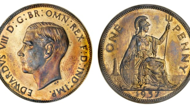 Pearl-of-great-price: the sole Edward VIII pattern penny available to collectors outside that in a complete set of the uncrowned monarch's coins. It will be offered by Spink in London on Sept. 24 as part 'The Waterbird Collection of English Rarities'. Images courtesy and © Spink.