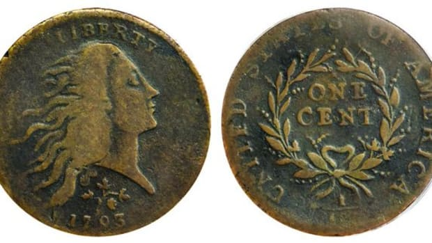 A 1793 Flowing Hair cent, finest of four known, will be a highlight of Stack's Bowers Galleries' U.S. coin offerings during the firm's Aug. 5-7 Las Vegas auction. (All images courtesy Stack's Bowers Galleries.)