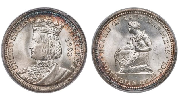 Shown here, a fantastic example of an 1893 Isabella quarter in MS-67 PCGS condition.  The coin is being offered at the July 11-14 Summer Fun US Coins Signature Auction in Orlando by Heritage Auctions. (Image courtesy of Heritage Auctions)