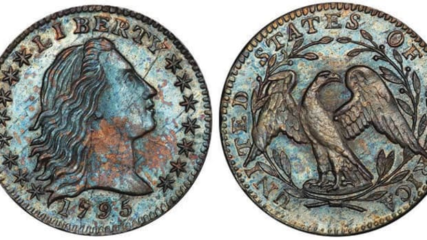 Lot 254 was one of two top-selling lots. It featured a 1795 Flowing Hair Liberty dime graded MS-66 by PCGS, certified by CAC. It realized a total of $79,312.50.