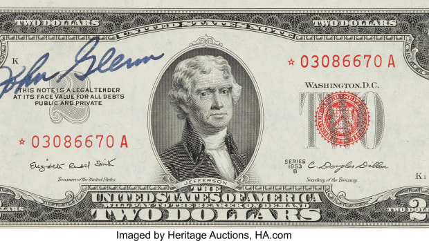 John Glenn signed $2 bill. (Image courtesy of Heritage Auctions)