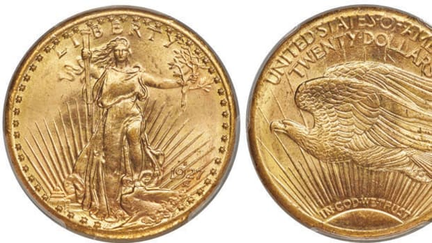 Heritage Auctions is offering this 1927-S $20 Saint Gaudens graded PCGS MS-65. Images courtesy Heritage Auctions, HA.com)