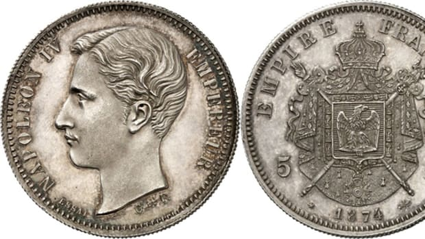 What might have been is recalled by this French pattern 5 francs of Napoleon IV dated 1874. The bust is of Prince Napoléon Eugène Louis Bonaparte. It is graded EF to uncirculated and has an estimate of 1,500 euros or $1,935.