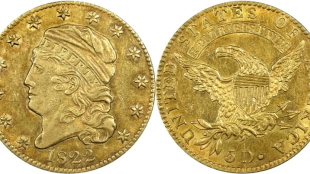 This 1822 half eagle is graded PCGS AU-50. (Images courtesy National Numismatic Collection at the Smithsonian Institution via PCGS.com.)