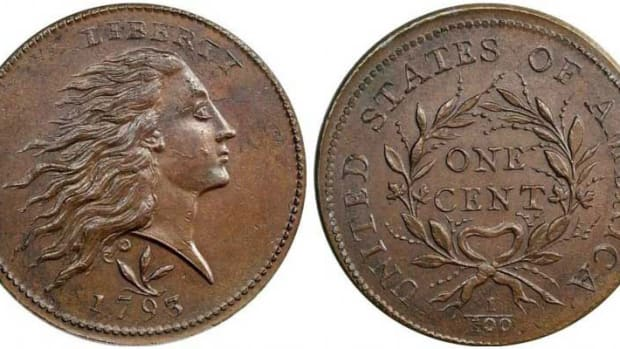 1793 Flowing Hair Wreath reverse cent. (Image courtesy of usacoinbook.com)