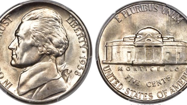 A 1938-S Jefferson nickel PCGS-graded MS-67 with Full Steps. (Images courtesy Heritage Auctions)