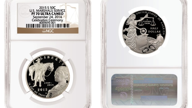 One of Early Release 2015-S U.S. Marshals Service commemorative proof half dollars graded by NGC.