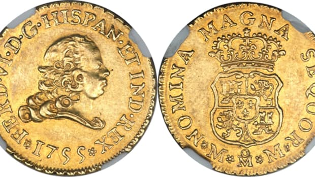 A Ferdinand VI gold 2 escudos 1755 Mo-MM in NGC AU-58 will be among the highlights of the Rudman Collection sale that will be conducted by Heritage Auctions.