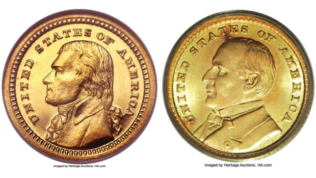 Shown here are examples of the two 1903 Louisiana Purchase Exposition gold dollars. Jefferson is on the left with McKinley on the right.  (Images courtesy of Heritage Auctions).
