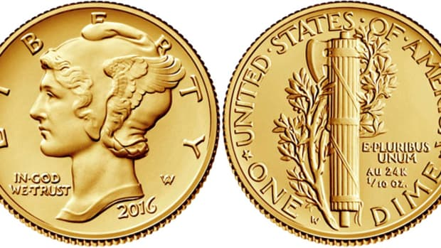 The 2016 Centennial gold Mercury dime releases April 21 with a 125,000 coin mintage and a 10 coin order limit.