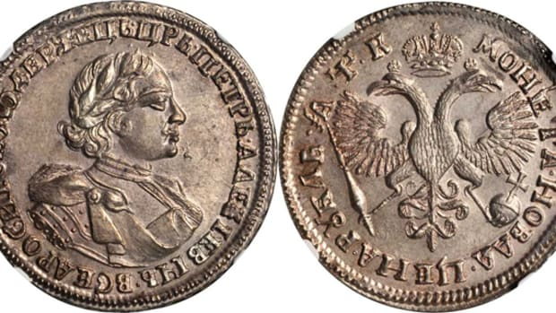 Lot 31132, a Peter the Great ruble dated 1720 (the finest graded by over 2 points), which realized $34,075 on a $30,000 to $40,000 estimate.