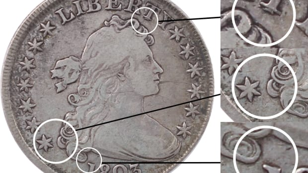 Diagnostics for the newly-discovered 1803 Large 3 Draped Bust silver dollar.