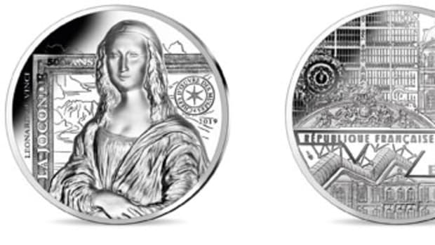 Obverse and reverse of Monnaie de Paris' high relief silver €20 depicting the Mona Lisa. Images courtesy Monnaie de Paris.