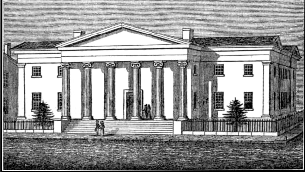 :  The second United States Mint as it appeared in the 1830s.
