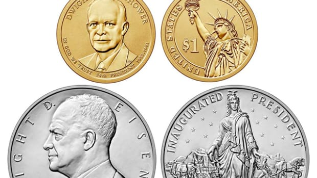 The Ike reverse proof dollar and silver presidential medal are fetching high prices on eBay if they grade -70.