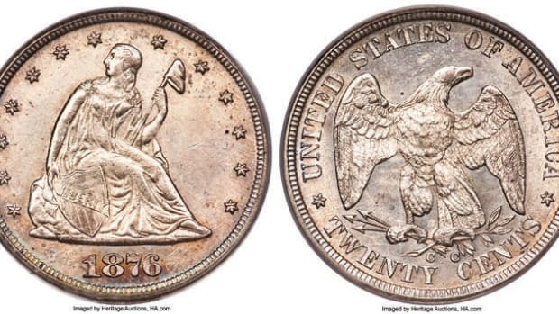 Selling for $456,000, an 1876-CC twenty cent piece known as the famous Battle Born Specimen.  (Image courtesy of Heritage Auctions)