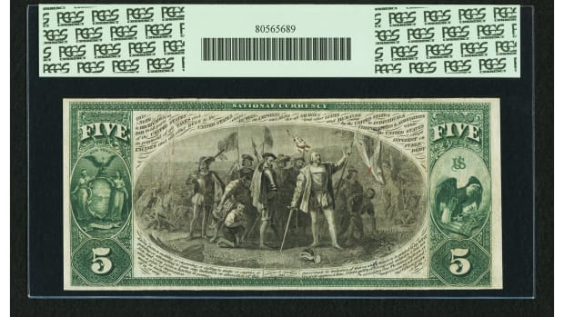 Shown is the back a New York, NY $5 1875 Fr. 405 The Lincoln NB Ch. #2608 note in which Christopher Columbus is featured. (Image courtesy of Heritage Auctions)