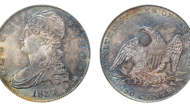 The later version of the 1836 Capped Bust Half Dollar. The standard lettering on the edge of the coin (FIFTY CENTS OR HALF A DOLLAR) was removed and replaced with a reeded edge. (Image courtesy of usacoinbook.com)