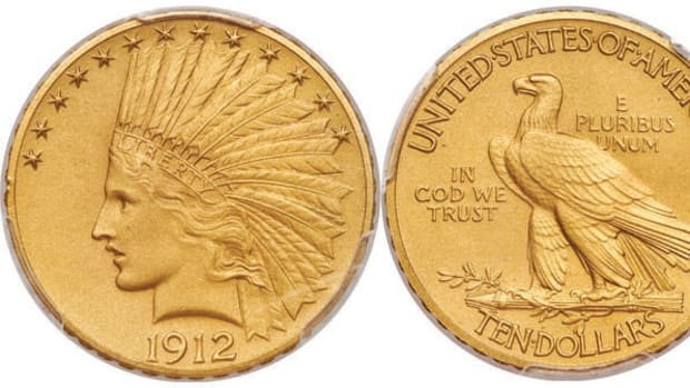 1912 $10 Matte Proof Indian Eagle. (Image courtesy of Heritage Auctions)
