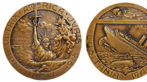 This World War I medal serves as a rallying cry against the German Empire. American involvement in the war was solidified after the sinking of the Lusitania.