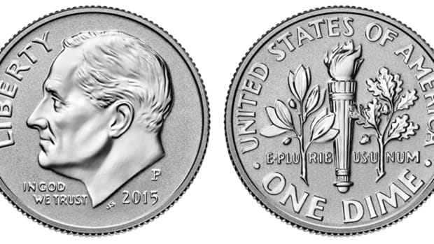 The 2015-P reverse proof Roosevelt dime.