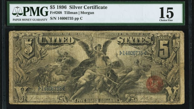 1896 Large Size $5 Silver Certificate