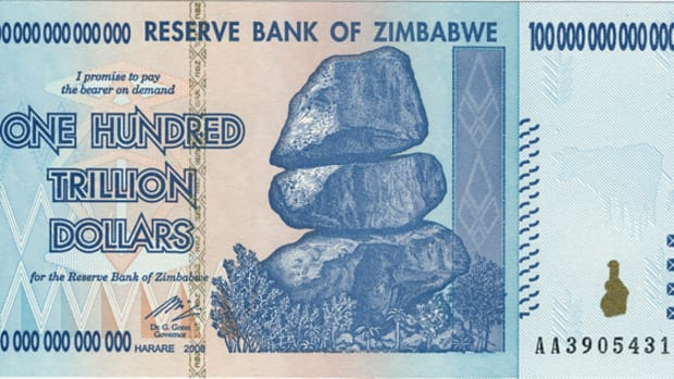 A Zimbabewe 100,000,000,000,000 dollar, illustrating the hyperinflation of 2009.