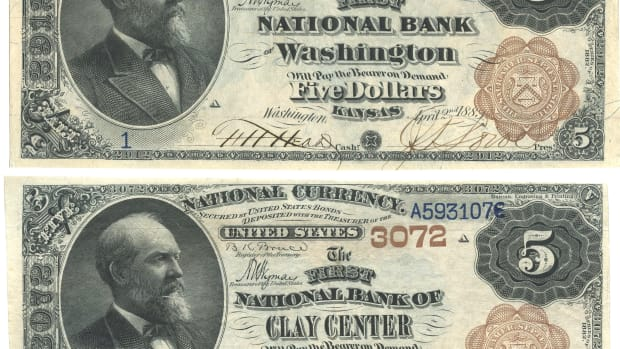 Newly discovered serial No. 1 $5 Brown Backs from The First National Banks of Washington and Clay Center, Kan. F.H. Head signed both as cashier. The lettering in the title blocks for both of these notes was made on patented lettering machines.