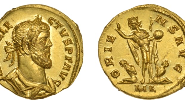 Rare gold aureus of Allectus, Emperor of Britain 293-296 CE, found in a ploughed field in March and scheduled for sale in June by DNW with an estimate c. $90,000-130,000. On the reverse is Sol Invictus with globe, whip and captives. Images courtesy & © Dix Noonan Webb.