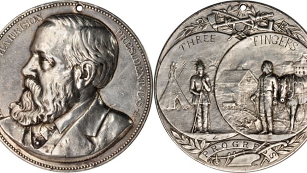 The Harrison Peace Medal gifted to Cheyenne Chief Buffalo Meat in 1890 sold for $49,937.50 at Stack's Bowers Americana sale.