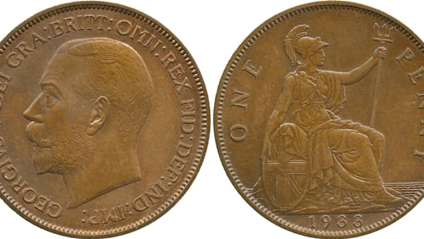 "The Lavrillier pattern 1933 British penny that fetched $104,126 in May. The initials ""A.L"" appear on the truncation of the king's neck alongside those of Bertram Mackennal, ""B.M"", the official mint engraver at this time. Image courtesy Baldwin's."