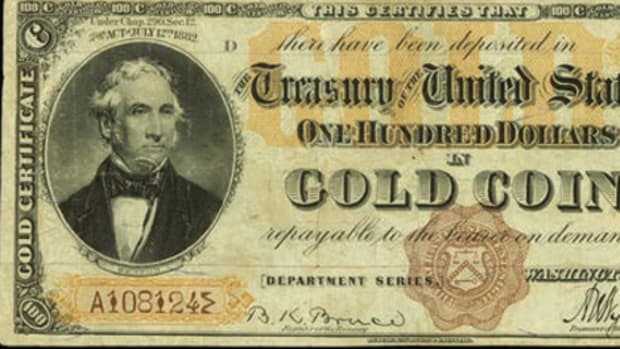 "This rare 1882 $100 Gold Certificate brought $470,000 in Stack's Bowers auction at the ""World's Fair of Money."""
