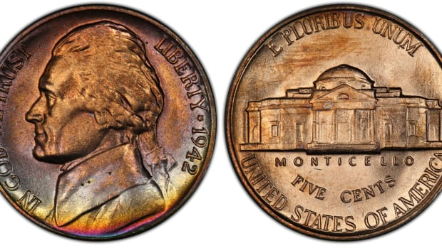 shows a 1942-D Jefferson nickel