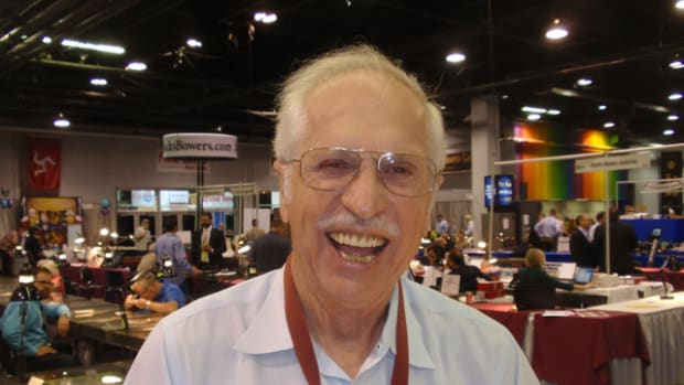 Coin dealer Harry Jones was all smiles at the ANA Chicago show.