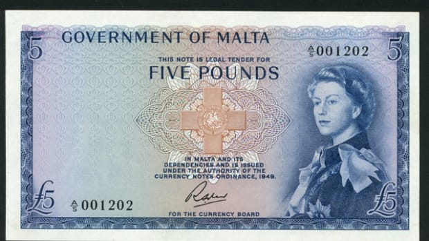 Maltese £5 of 1963 in top grade sporting the Annigoni portrait of the queen and signed by Richard Soler.