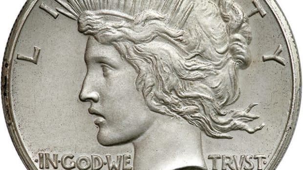 Obverse of the PCGS Proof-67 CAC 1922 matte proof high relief Peace dollar