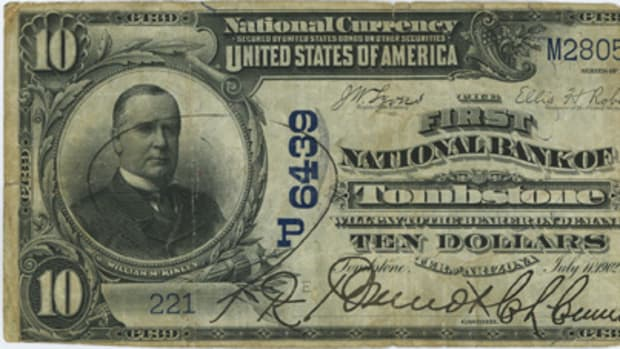 T. R. Brandt, whose vanity signature as cashier graces this wonderful Arizona territorial note, was not the type of man to hand over the bank's till to a two-bit gun-toting robber in 1917.