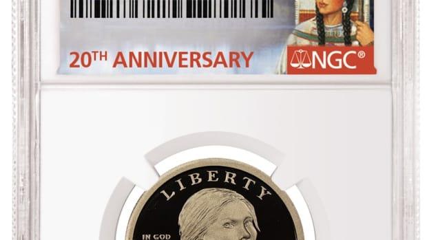 The winning design for the 2020 Sacagawea dollar label.