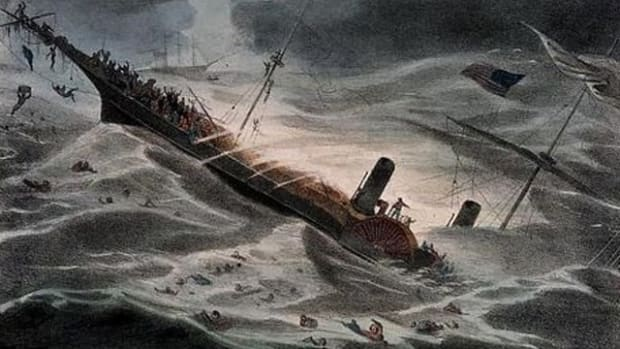 A painting depicting the sinking of the SS Central America.