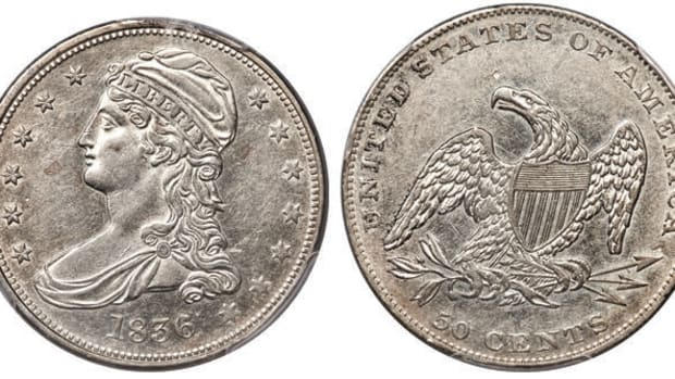 An 1836 Reeded Edge half dollar graded AU-53, GR-1 PCGS Secure. (Images courtesy Heritage Auctions.)