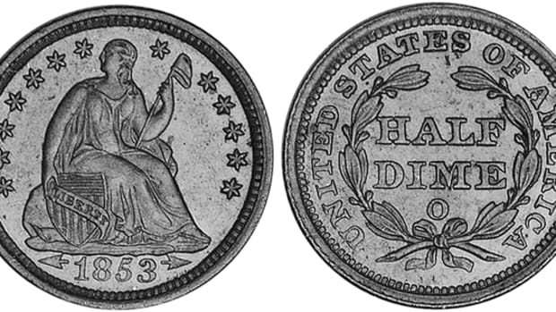 The 1853-O half dime with arrows can be bought for only $20.75 in G-4. Its predecessor, the 1853-O half dime without arrows, however, is a rarity in any grade with a G-4 price of $285.