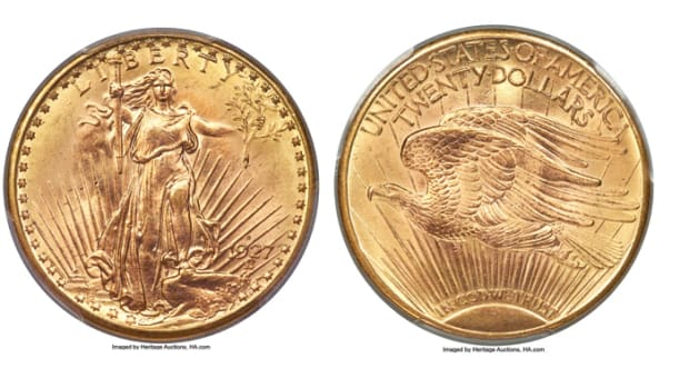 Highlighting Heritage's official auction of the 65th anniversary Florida United Numismatists Convention is a 1927-D Saint-Gaudens double eagle gold $20 graded MS-65+ by PCGS. It hails from the Rollo Fox Collection. (All images courtesy Heritage Auctions, www.HA.com.)