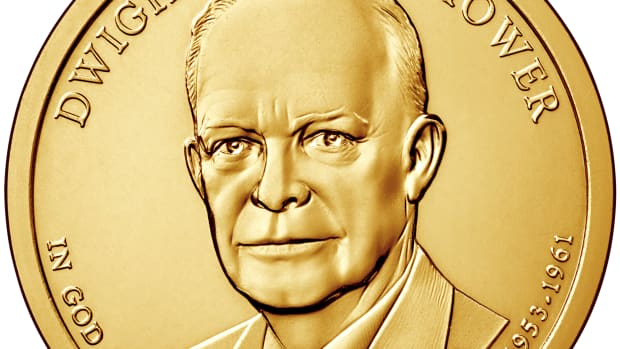 The Mint has lowered the household order limit to 2 sets for the Eisenhower Coin and Chronicles set (uncirculated Eisenhower dollar shown here).